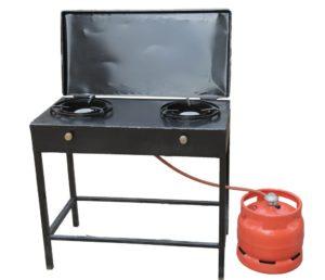 Medium Open Double Burner LPG (Gas) Stove Covered